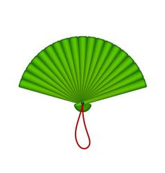 oriental fan in green design vector image vector image