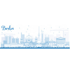 Outline berlin skyline with blue buildings vector