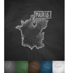 Paris map icon hand drawn vector