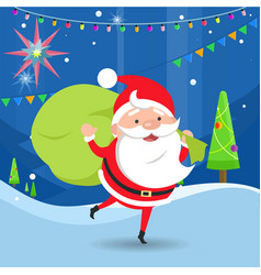 Santa claus waving and holding bag with gifts vector