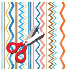Scissors on textile background abstract oriental vector