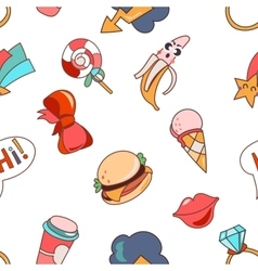 Seamless pattern cartoon patch badges vector image
