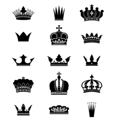 Set of 15 crowns vector image vector image