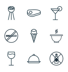 Set of 9 meal icons includes bowl steak vector