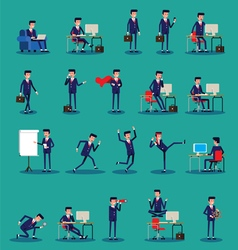 set of businessman character poses vector image