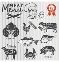 Set of butcher shop labels and design elementsn vector