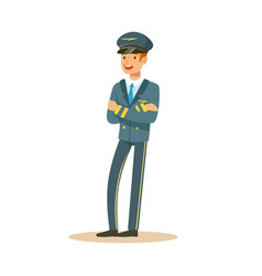 smiling airline pilot character in blue uniform vector image vector image