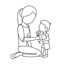 Son give flower mother outline vector