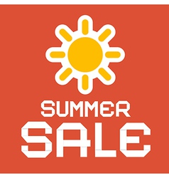 Summer Sale Paper with Sun on Red Background vector image vector image