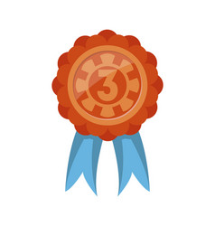 third place trophy badge with ribbon vector image vector image
