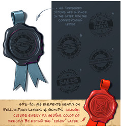 wax seal - black friday sales vector image vector image