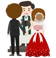 Wedding scene with bride and groom vector