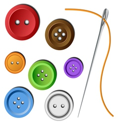 Clothes button set with needle vector