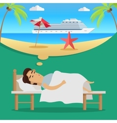 Man Thinking About Beach Vacation vector image