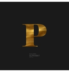 Golden letter P vector image