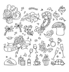 Set of doodles love icons vector