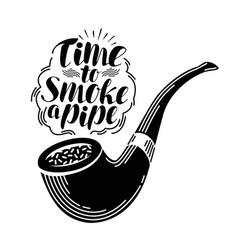 Smoking pipe tobacco label handwritten lettering vector