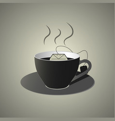 Black cup of tea wit teabag flat style vector