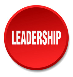 Leadership red round flat isolated push button vector