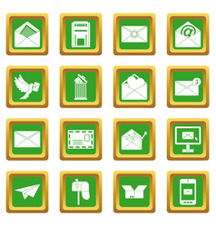 email icons set green vector image