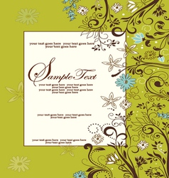 Green floral card vector