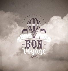 Vintage type design with hot air balloon vector