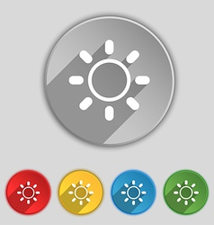 Brightness icon sign symbol on five flat buttons vector