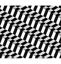 3d checkered black white seamless pattern vector