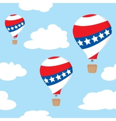 Seamless pattern with patriotic hot air balloons vector