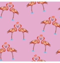 Love pink flamingos in water vector