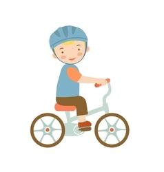 Cute little boy riding a bike vector