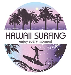 Hawaii surfing tropical background vector
