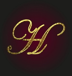 H golden letter vector