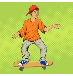 Teenager on a skateboard pop art vector