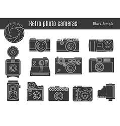 Old retro photo camera set vector