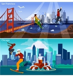 American cities compositions set vector