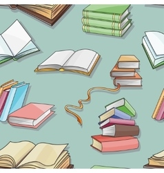 Books pattern isolated on blue background vector image vector image