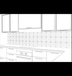 Bstract sketch design interior kitchen vector