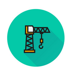 building crane icon on round background vector image vector image
