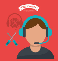 call center man operator technical help vector image