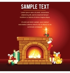 Christmas card with Decorated Fireplace vector image