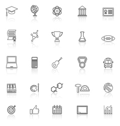 College line icons with reflect on white vector