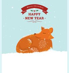 cute cartoon fox in snow vector image