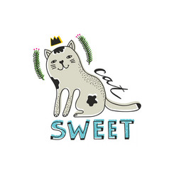 Cute cat isolated with text on white background vector