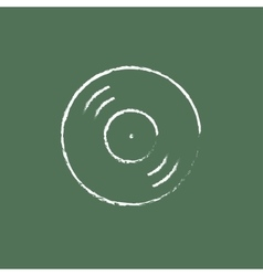 Disc icon drawn in chalk vector