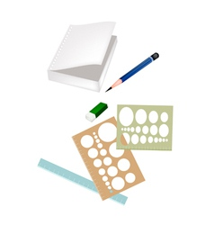 Drawing equipment with a white blank notebook vector