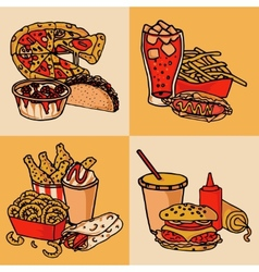 Fast food menu concept flat vector