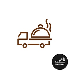 Food delivery logo van car with hot platter and vector