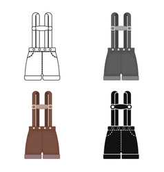 Lederhosen icon in cartoon style isolated on white vector