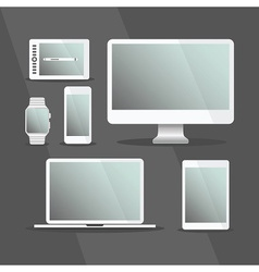 Modern digital devices set with white frames vector